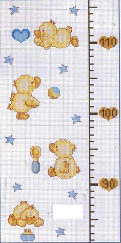 GRAFICOS PUNTO DE CRUZ GRATIS : MEDIDOR(17) Cross Stitch Baby, Cross Stitch Embroidery, Crochet Chart, Knit Crochet, Disney Cross Stitch Patterns, Free Graphics, Projects To Try, Knitting, Handmade