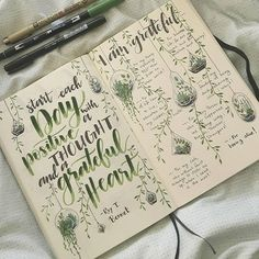 Day 3 of @archerandolive #AOdotgridchallenge was making a gratitude list    Never made one before, but really enjoyed it!    #bujo #bulletjournal #handlettering #gratitudelist #leuchtturm1917 #tombow #gratitude #succulents #vines