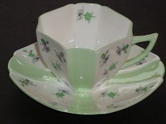 Shelley Queen Anne CHARM Lime Green Tea Cup and Saucer Duet
