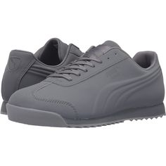 PUMA Roma Mono Emboss (Steel Gray) Men's Shoes ($30) ❤ liked on Polyvore featuring men's fashion, men's shoes, men's sneakers, grey, mens breathable shoes, mens gray dress shoes, puma mens sneakers, mens grey shoes and mens shoes