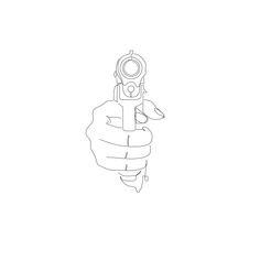 Modern minimalist illustration drawing of a gun.