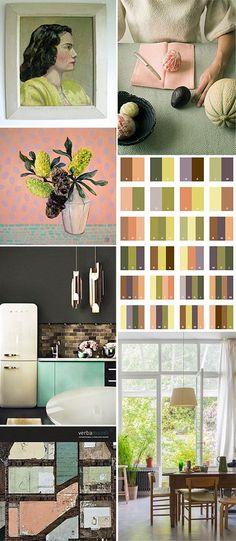 color palette: olive green + pink