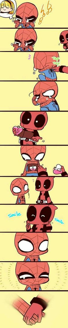 Deadpool and Spiderman so cute Deadpool X Spiderman, Spideypool, Superfamily, Marvel Memes, Marvel Dc Comics, Marvel Avengers, Marvel Quotes, Dead Pool, Heros Comics