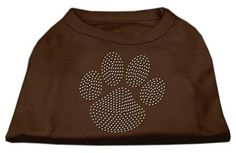 Clear Rhinestone Paw Shirts Brown XL (16)