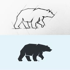 """blocky, strong full body bear logo with interesting contours and a bold shape. Angular design conforms to a """"techy"""" feel. I also like the use of negative space to imply eyes and define body movement."""
