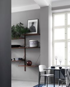 Alcro ad white grey dining - browns with grey Interior Exterior, Interior Walls, Interior Architecture, Room Paint Colors, Paint Colors For Living Room, Dining Room Inspiration, Interior Inspiration, Diy Décoration, Scandinavian Interior