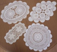"""Four Vintage Hand Crochet DOILIES in Cotton Thread """"Never Used"""""""
