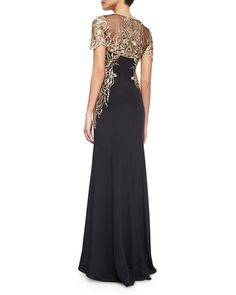 TA5GX Marchesa Notte Short-Sleeve Embroidered Gown