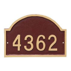 Montague Metal Products Dover Arch One Line Petite Address Sign Plaque Finish: Brick Red/Silver