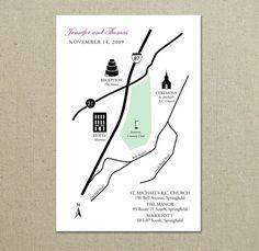custom wedding map for invitations
