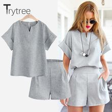 Trytree Spring summer Women two piece set Casual Cotton tops + short Soild Female Office plus size Suit Set Short Sleeve Sets Plus Size Suits, Crop Top And Shorts, Crop Tops, Mode Chic, Short Tops, Short Set, Women's Summer Fashion, Summer Outfits, Summer Clothes
