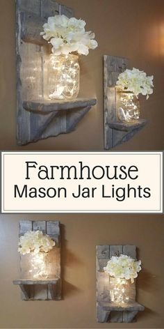 Rustic Home Decor, Mason Jar vase, Sconces, Set of 2 Sconces,House warming Gift, Mason Jar with lights, Firefly lights, Farmhouse decor #ad #farmhouse #farmhousedecor #rusticdecor #masonjars #masonjardecor #DIYfarmhousedecor #professionalpinner