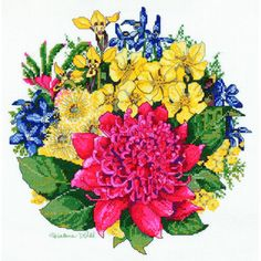 Waratah Bouquet Cross Stitch Kit designed by Helene Wild for DMC