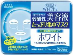 Kose Clear Turn Essence Facial Mask White - 26 masks by CLEAR TURN. $23.99. 26 Masks in their own convenient storage container.. Uses deep ocean water to hydrate skin and keep skin soft.. Made in Japan, comes with English usage instructions and ingredients.. Three-layer soft sheet made with environmentally friendly materials holds more liquid and fits curves of your face well.. Weakly acidic, no fragrance, no colorant, and no alcohol.. Clear Turn makes it easy to give your ...