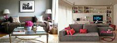 Pequena sala de estar com detalhes e cores pequenos, e elegantes.
