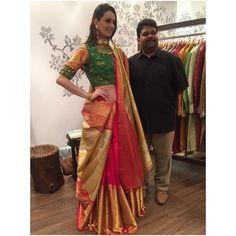 this modern draping of traditional elements at Gaurang Shah Saree Draping Styles, Saree Styles, Blouse Styles, Blouse Designs, Half Saree Lehenga, Lehnga Dress, Saree Blouse, Abaya Fashion, Indian Fashion