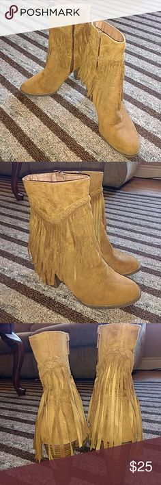 "SZ.8 ""Breckelle's"" Fringed Ankle Boot in Tan 4in Heel. Tan Colored. Man made Material. Very comfy. Worn Twice. Excellent Condition. Breekelle's Shoes Ankle Boots & Booties"