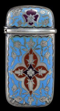 A TIFFANY SILVER AND ENAMEL MATCH SAFE Tiffany & Co., New York, New York, circa 1873-1875 Marks: TIFFANY &am...