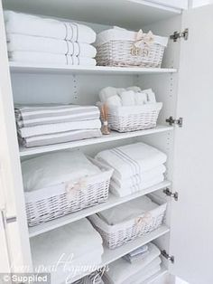 Linen Closet Organisation - From Great Beginnings - Healty fitness home cleaning Organizing Linens, Bathroom Closet Organization, Bathroom Organisation, Home Organization, Bathroom Decor, Closet Organization, Linen Closet Organization, Bathroom Closet, Closet Organisation