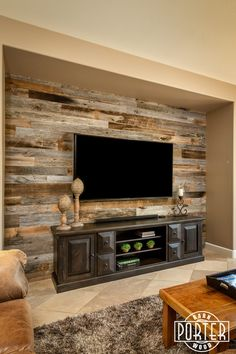Reclaimed Wood Entertainment Niche is a great place for reclaimed barn wood. It helps create a focal point in the room and add some warmth. Accent Walls In Living Room, Home Living Room, Living Room Remodel, Wooden Accent Wall, Reclaimed Wood Accent Wall, Diy Wood Wall, Salvaged Wood, Basement Remodeling, Family Room