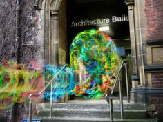Invisible Wi-Fi revealed through light graffiti. The Kirlian Device shines a light in different colours depending on Wi-Fi signal strength, allowing creator Luis Hernan to create paintings in light.