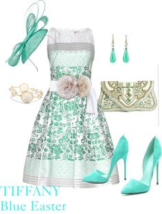 Easter outfit in Tiffany Blue - Love everything but the hat!  The purse is gorgeous!