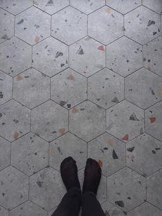 Terrazzo Tile, Tile Floor, Bathroom Layout, Bathroom Table, Whitney House, Aka House, Paving Pattern, Hair Salon Interior, Small Tiles