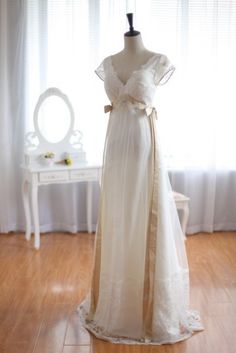 Claire Pettibone Vintage Inspired Tulle Lace Wedding Dress Cap Sleeves Backless Open V Back Bridal Gown. $359.00, via Etsy.