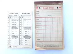 Vintage Game Score Card Dutch Whist Paper Ephemera by ElmPlace, $10.00