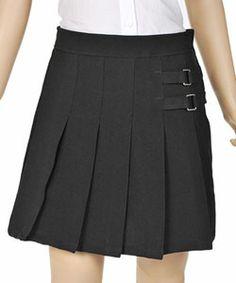 French Toast Pleated Scooter with Side Buckle Accent (Sizes 7 – 20)