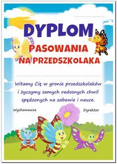 Dyplom pasowania na przedszkolaka motylki