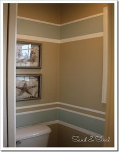 Powder Room, Painted Stripes. Paint Colors:  Sherwin Williams, Rainwashed & Urban Putty