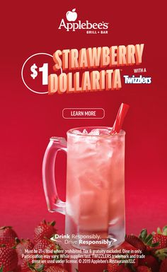 Strawberry DOLLARITA with a TWIZZLERS Cocktail Mix, Cocktail Drinks, Fun Drinks, Cocktail Recipes, Alcoholic Drinks, Margarita Cocktail, Beverages, Alcohol Recipes, Summer Cocktails