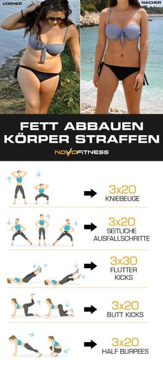 Fett abbauen und den Körper straffen - Body Workouts For Cutting Body Fat - The Best Exercises for a Full-Body Workout Corps Fitness, Fitness Gym, Body Fitness, Fitness Workouts, Fitness Goals, At Home Workouts, Fitness Motivation, Health Fitness, Exercise Workouts