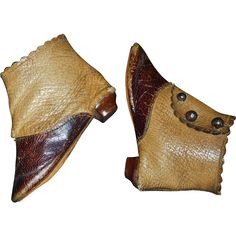 Wonderful Pair of Antique French Fashion Doll Boots, JJ Trademark