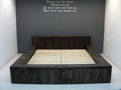 Tweepersoons blok bed van nieuw steigerhout B180xL200cm blackwash voorraad (060320131416)   voorraad 2-persoonsbedden   JORG`S Houten Meubelen