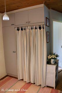 XL Cheap & Chic: Eteisen komeron uudistus kalkkimaalilla - Little h. Chalk Paint, Curtains, Shower, Chic, Home Decor, Rain Shower Heads, Shabby Chic, Blinds, Elegant