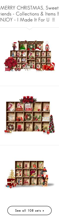 """""""MERRY CHRISTMAS, Sweet Friends - Collections & Items !!    ENJOY - I Made It For U  !!    :)"""" by fashiongirl-26 ❤ liked on Polyvore featuring home, home decor, holiday decorations, red card, art, wall art, words, text, backgrounds and phrase"""