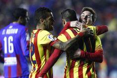Messi sets up 4 goals to mark his 400th game for club   Copa del Rey 2013/14, quarter-finals, 1st leg   Levante UD 1 - 4 FC Barcelona.
