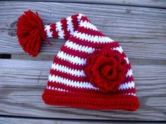 Red and White stripped Santa Hat by tendertwigdesigns on Etsy, $19.00