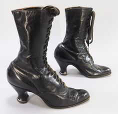 19th Century Antique Black Leather Shoes Victorian Steampunk Granny Boots #Boots