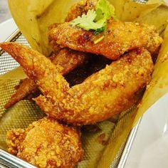 Thai Lemon Chicken Wings ($7.50)  with 8 pieces @woodstoneeatery So crispy and moist! Lemon Chicken, Chicken Wings, Meat, Food, Eten, Meals, Diet