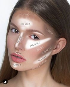 A great basic graph for where to put contour and highlight! - A great basic graph for where to put contour and highlight! A great basic graph for where to put contour and highlight! Contouring Makeup, Contouring And Highlighting, Skin Makeup, Makeup Brushes, Maquillage On Fleek, Pinterest Makeup, Makeup Tips For Beginners, Makeup Techniques, Tips Belleza