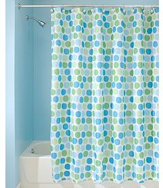 InterDesign Rialto Shower Curtain, Blue and Green, 72-Inch by 72-Inch