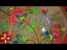 Hand embroidery stitches tutorial. Hand embroidery design for blouses. - YouTube