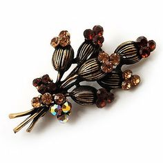 Vintage 'Bouquet of Flowers' Brooch In Bronze Metal Avalaya. $17.91. Theme: floral. Gemstone: diamante. Metal Finish: bronze. Collection: floral. Occasion: anniversary, mothers day, casual wear
