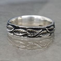 LAUREL LEAF Wedding Band 5mm width A Ring in by BandScapes on Etsy, $145.00