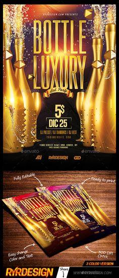 Bottle Luxury Party Flyer Template PSD. Download here: https://graphicriver.net/item/bottle-luxury-party-flyer-psd/17124000?ref=ksioks