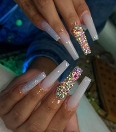 In seek out some nail designs and some ideas for your nails? Listed here is our list of must-try coffin acrylic nails for fashionable women. Bling Acrylic Nails, Drip Nails, Aycrlic Nails, Summer Acrylic Nails, Best Acrylic Nails, Bling Nails, Cute Nails, Coffin Nails, Bling Nail Art