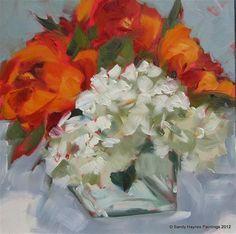 """Red-orange with hydrangeas"" - Original Fine Art for Sale - © Sandy Haynes"